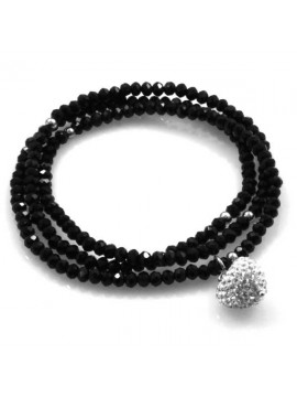 bracciale collana elastico con cristalli e ciondolo cuore di strass