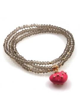 bracciale collana elastico con cristalli e ciondolo cuore