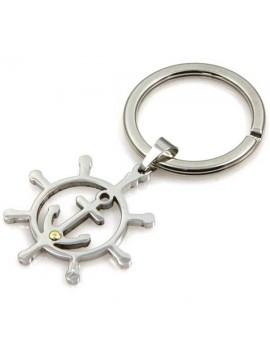 portachiavi con simboli marinari in acciaio e oro