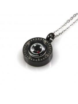 collana con bussola ciondolo pendente in acciaio