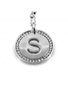 collana con lettera s iniziale ciondolo pendente in bronzo argentato