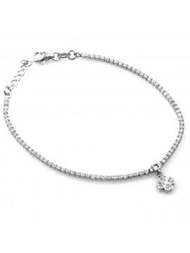 bracciale in argento con ciondolo pendente quadrifoglio in argento 925 e strass