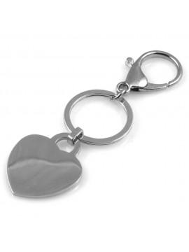 portachiavi donna in acciaio con cuore personalizzabile con incisione