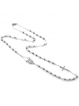 collana rosario girocollo in acciaio