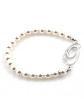 bracciale donna di perle con iniziale lettera o con strass elastico