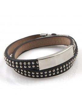 bracciale uomo in pelle e borchie tonde piastra ottima da incidere doppio giro gioiello in acciaio cm 44 mm 10