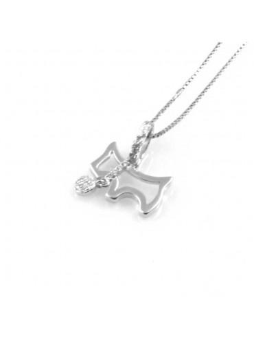 collana donna con schnauzer cane o cagnolino ciondolo gioiello in argento 925 zirconi catena cm 42 mm 15 mm 13