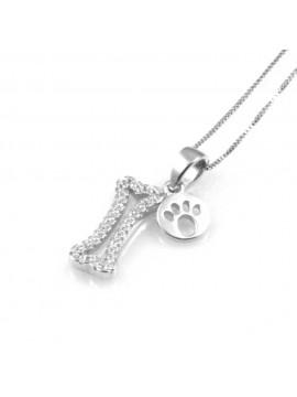 collana donna con osso del cane ciondolo gioiello in argento 925 zirconi catena cm 42 mm 17 mm 7