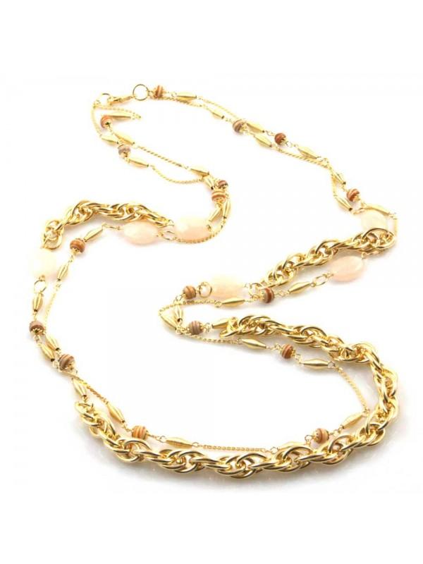 collana donna gioiello in bronzo dorato pietre dure quarzi lunga cm 80