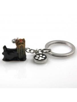 portachiavi donna con cane razza yorkshire terrier gioiello in acciaio inossidabile e smalto cm 70