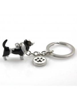 portachiavi donna con cane razza beagle gioiello in acciaio inossidabile e smalto cm 70
