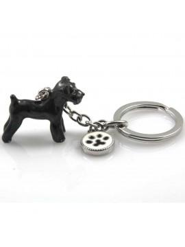 portachiavi donna con cane razza terrier gioiello in acciaio inossidabile e smalto cm 70