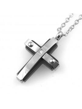 Collana croce da uomo in acciaio e elementi neri
