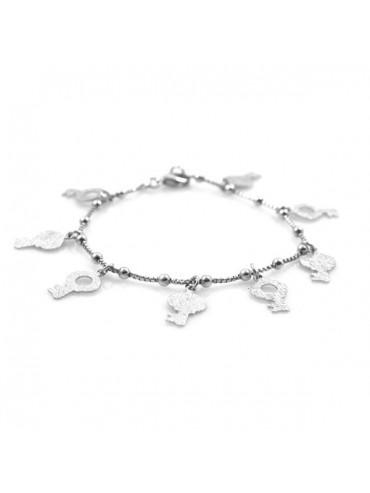 Bracciale donna in argento e ciondoli a forma di chiavi