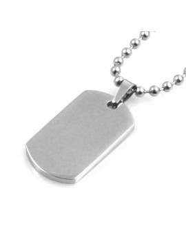 piastra in acciaio personalizzabile con incisione collana fino a 50 cm a palline H mm 20 L mm 14