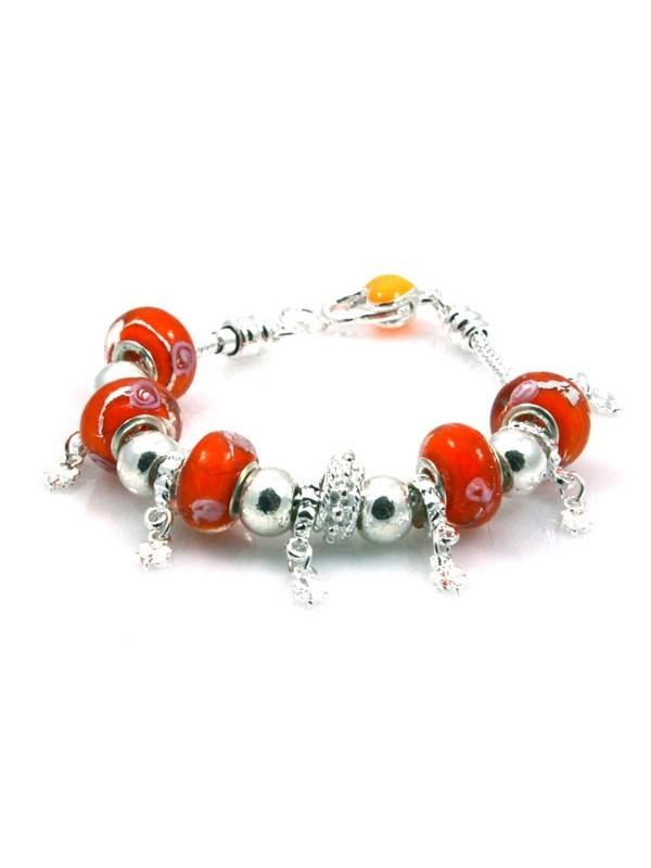 Bracciale donna con murrine arancio