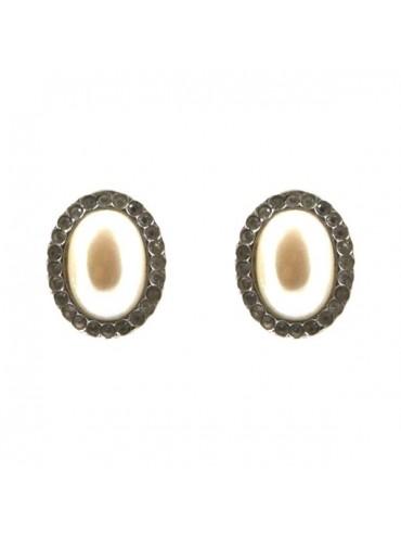 Orecchini donna in argento a vite con perle e strass