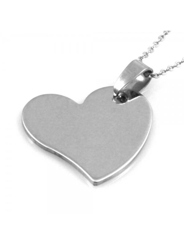 Collana con cuore donna personalizzabile con incisione in acciaio catenina fino a 50 cm H mm 27 L mm 27