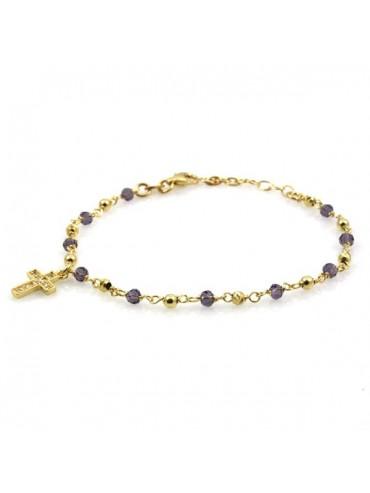 Bracciale rosario in argento dorato e cristalli