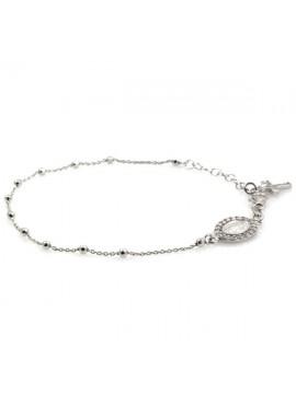 Bracciale rosario in argento con medaglia miracolosa