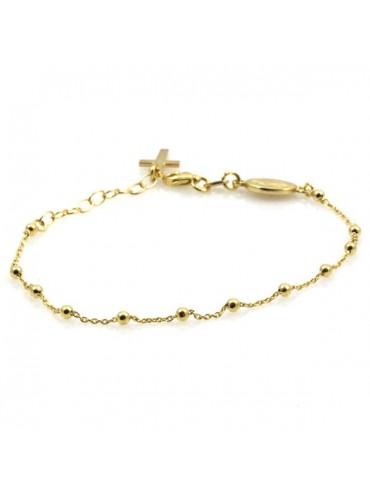 Bracciale rosario in argento dorato con medaglia miracolosa