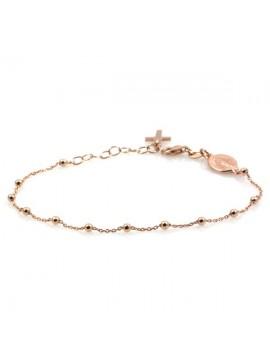 Bracciale rosario in argento ramato con medaglia miracolosa