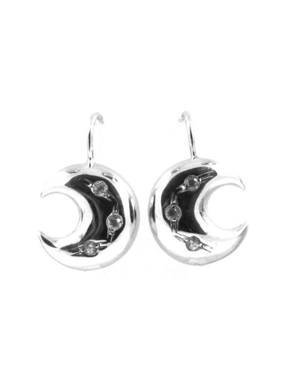 Orecchini donna in argento a luna pendenti