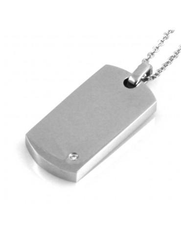 Piastra in acciaio personalizzabile con incisione collana fino a 50 cm H mm 28 L mm 15
