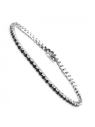 Bracciale tennis in argento strass neri