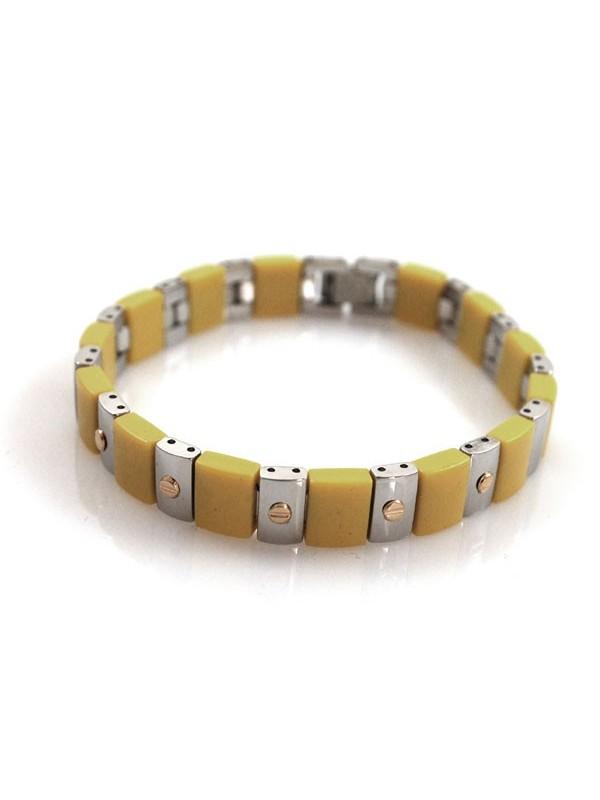 Bracciale colorato giallo acciaio e oro