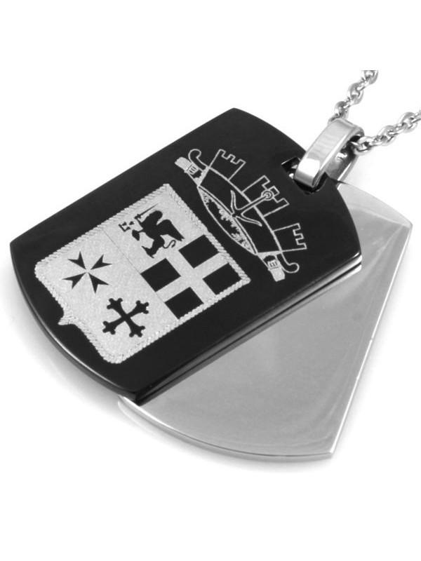 Collana doppia piastra con simbolo marina militare