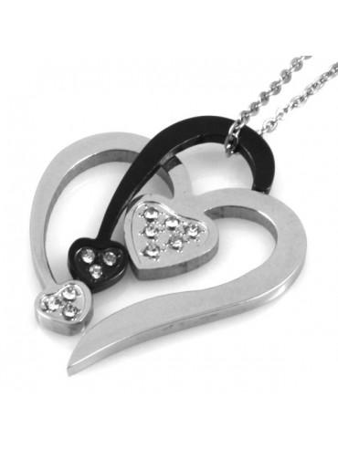 Collana con cuore stilizzato in acciaio