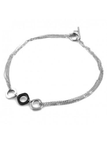 Collana girocollo donna con quadrati in acciaio