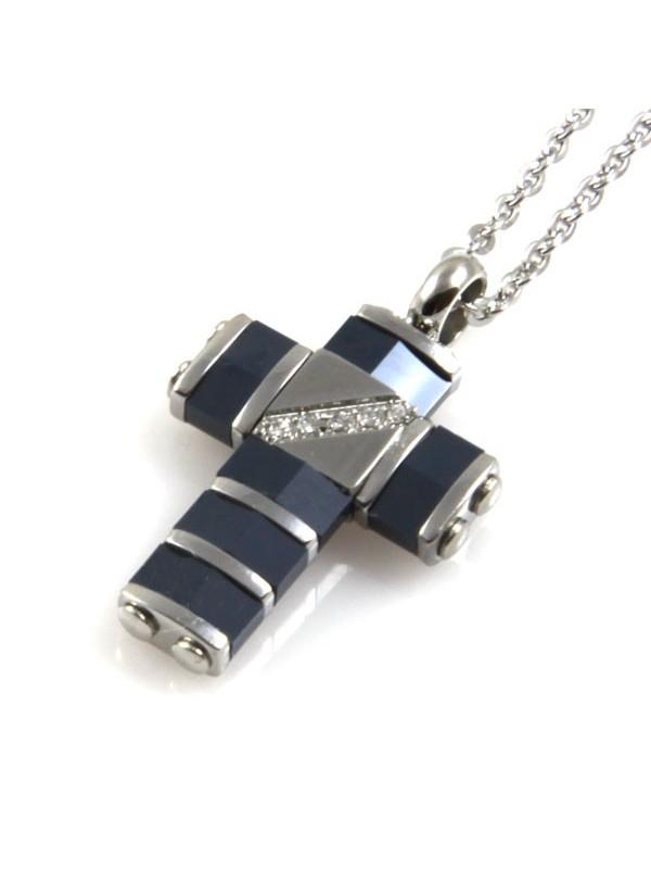 Collana con pendente croce a ciondolo in acciaio e ceramica