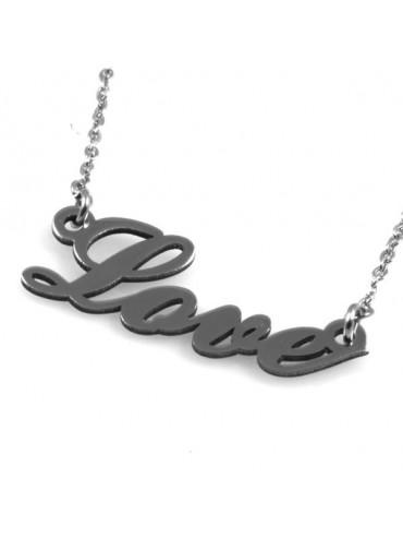 Collana con scritta love in acciaio