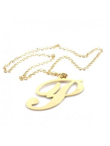 Collana con lettera iniziale dorata in bronzo