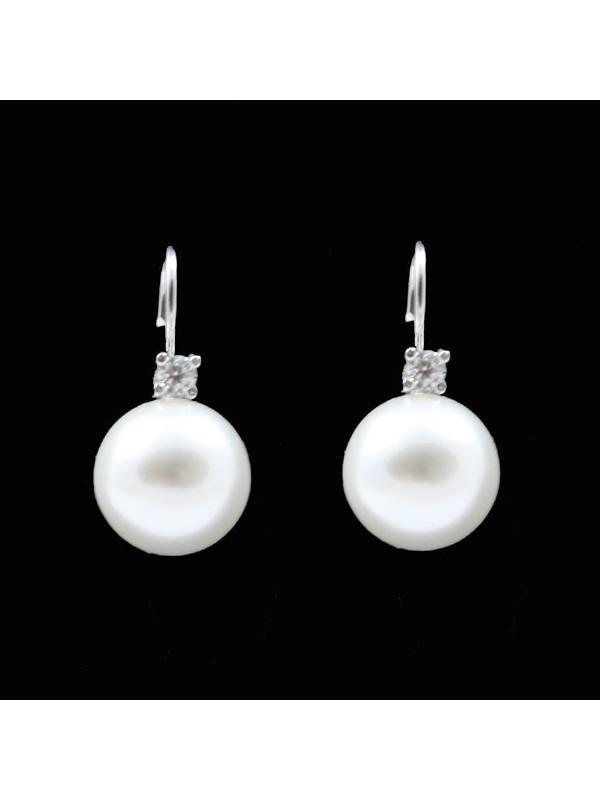 Orecchini donna perle e strass a monachella in argento