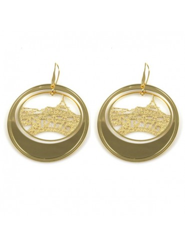 Orecchini paris dorati pendenti in bronzo