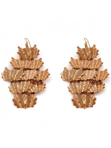 Orecchini con gufi pendenti in bronzo