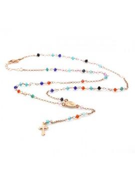 Collana rosario in argento ramato postine colorate