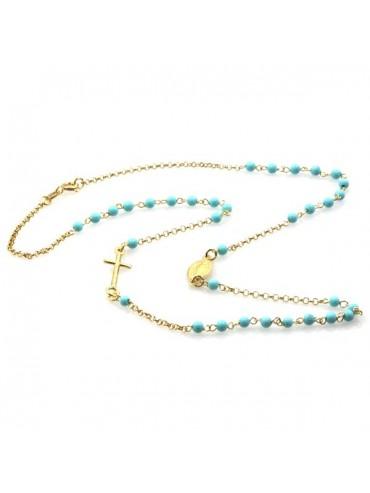 Collana rosario in argento dorato postine turchesi