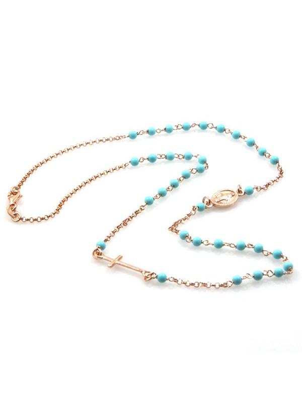 Collana rosario in argento ramato postine turchesi