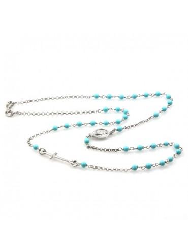 Collana rosario in argento postine turchesi