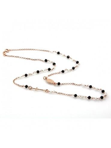 Collana rosario in argento ramato postine bianche e nere