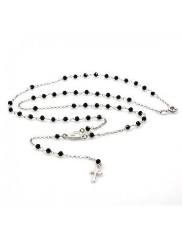 Collana rosario in argento postine nere