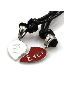 Collana con cuore spezzato in acciaio scritta for ever