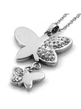 Collana con pendente farfalla in acciaio e strass