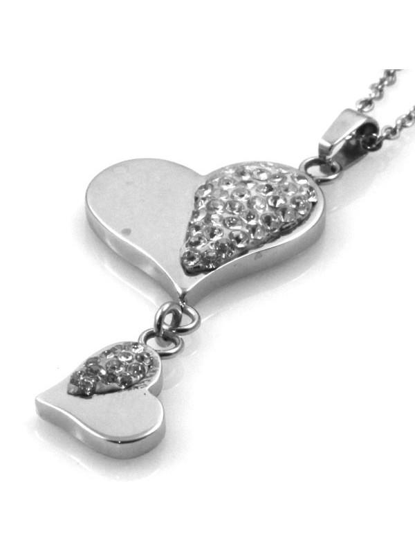 Collana con pendente cuore in acciaio e strass