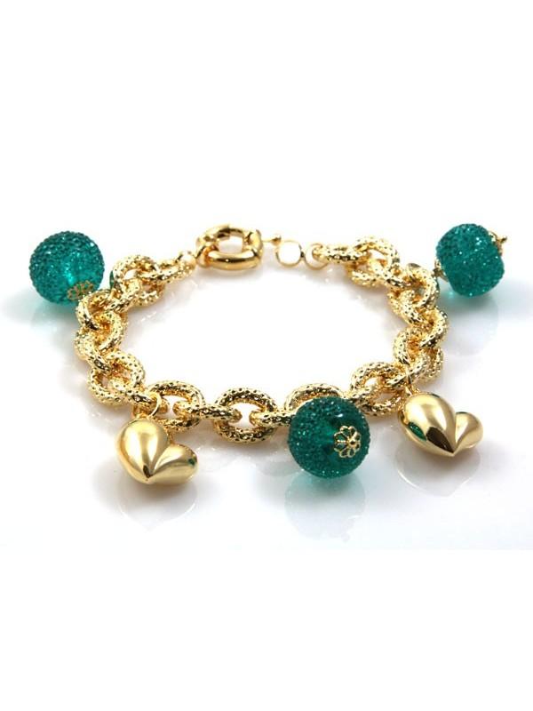 bracciale donna in bronzo dorato modello more di cristallo