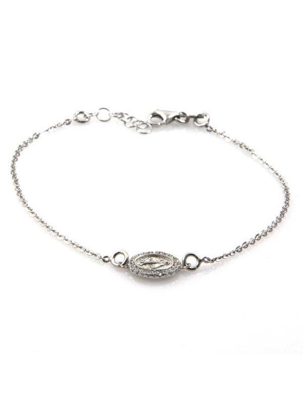bracciale con medaglia miracolosa in argento 925 e strass